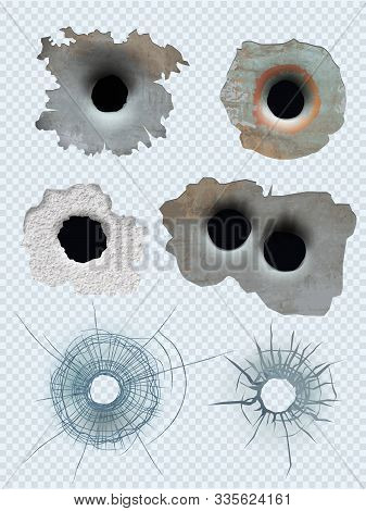 Bullet Circle Hole. Crashed Guns Bullet Marks Damaged Surface Vector Realistic Template. Illustratio