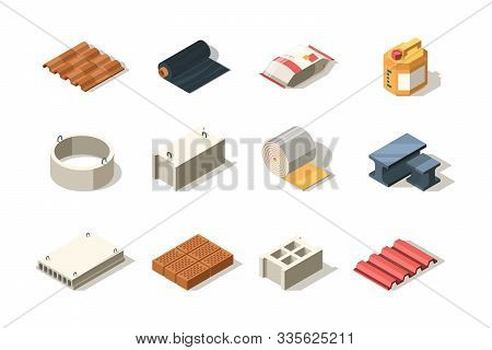 Construction Icon. Material For Industrial Builders Wood Bricks Pile Tubes Sand Bitumen Slab Roof Ve