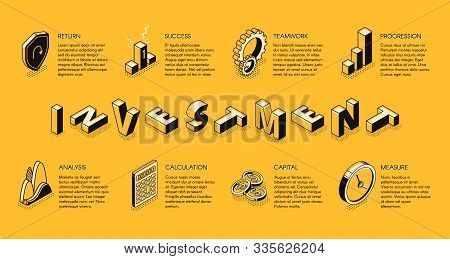 Investment Isometric Banner, Invest Fund And Capital Business Service, Planning Strategy For Increas