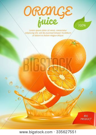 Juice Placard. Advertizing Banner With Orange Fresh Fruit Slice In Liquid Splashes Vector Template.