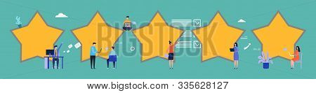 Customer Reviews. Feedback, Five Stars Vector Flat Illustration. Rating, Flat Tiny People Write Revi