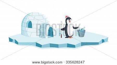 Happy Penguin Fishing. Christmas Penguin On Ice And Bucket Of Fish Vector Illustration. Cartoon Anim