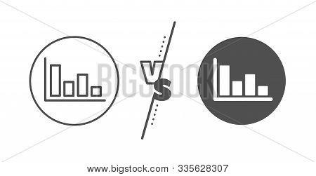 Financial Graph Sign. Versus Concept. Histogram Column Chart Line Icon. Stock Exchange Symbol. Busin