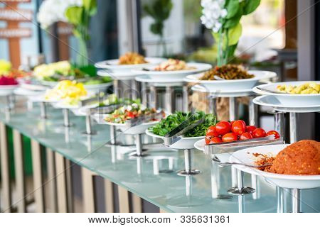 A Delicious Appetizer And Salad Buffet With Various Options In A Restaurant Or Hotel.