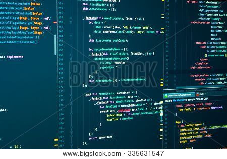 Javascript Source Development Code. Script Language For Software Development. Digital Java Code And