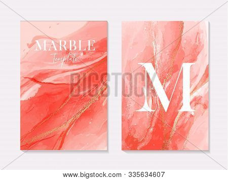 Pink Coral Contrast Liquid Red Alcohol Ink Marble Set Splash With Gold Glitter Sparkles For Presenta