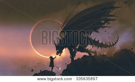 Scene Of The Wizard Reaching Hand Out To His Dragon Standing On The Rock, Digital Art Style, Illustr