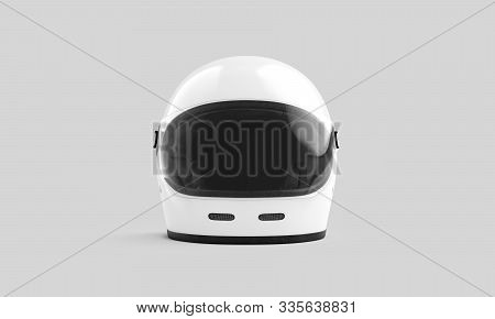 Blank White Safety Helmet With Glass Mock Up, Front View, 3d Rendering. Empty Protective Slam For Sk