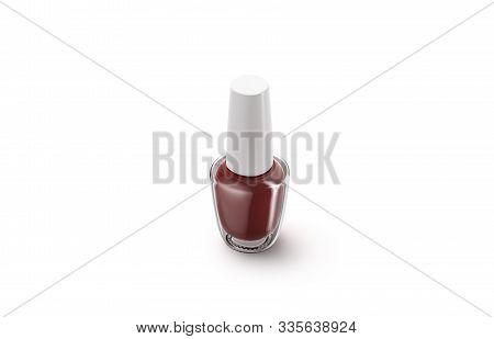 Blank Transparent Glass Bottle With Red Nail Polish Mockup, Isolated, 3d Rendering. Empty Glas Flask