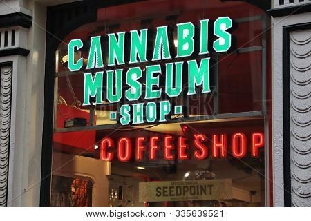 Amsterdam, Netherlands - December 6, 2018: Cannabis Museum Coffeeshop In Amsterdam. Netherlands Is K