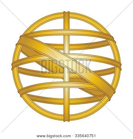Symbol Vintage Navigation Device Armillary Sphere. Isolated Icon From The Coat Of Arms Of Portugal O