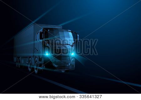 Vector 3d Heavy Truck. Highway Road. Delivery Transport, Cargo Logistic Concept.