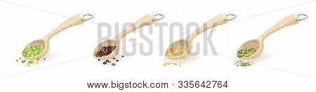 Set Of Wooden Spoons With Metallic D-ring Hung With Food Ingredients, Spices Green Peas, Black Peppe
