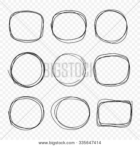 Hand Drawn Doodle Scetch. Circle Vector Round Set, Scribble Line Collection. Circles Frame For Messa