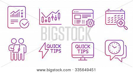 Web Settings, Financial Diagram And Quickstart Guide Line Icons Set. Survey, Web Tutorials And Check