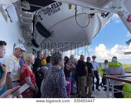 Ft. Lauderdale, Fl/usa-10/30/19: A Cruise Ship Muster Drill Where All Passengers And Crew Are To Rep
