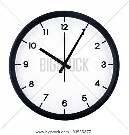 Classic analog clock pointing at ten O five, isolated on white background.