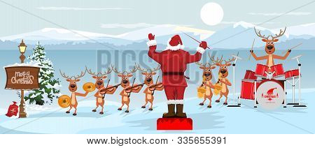 Santa Claus And Reindeers With Musical Instruments New Year Christmas Orchestra Concert On Winter La