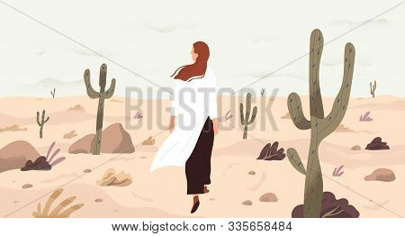 Girl In Desert Flat Vector Illustration. Single Woman Cartoon Character. Travelling And Outing, Disc