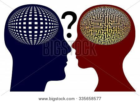 Male Brain Versus Female Brain. Different Mindsets Causing Communication Conflicts Between Men And W