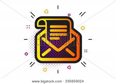 Read Message Correspondence Sign. Halftone Circles Pattern. Mail Newsletter Icon. E-mail Symbol. Cla