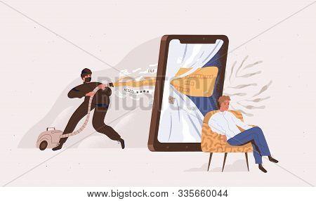 Phishing, Hacker Attack Vector Illustration. Hacker Attempting To Obtain Sensitive Information , Use