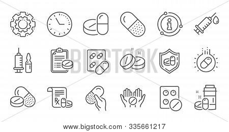 Medical Drugs Line Icons. Healthcare, Prescription And Pill Signs. Pharmacy Drugs, Recipe Pill Icons