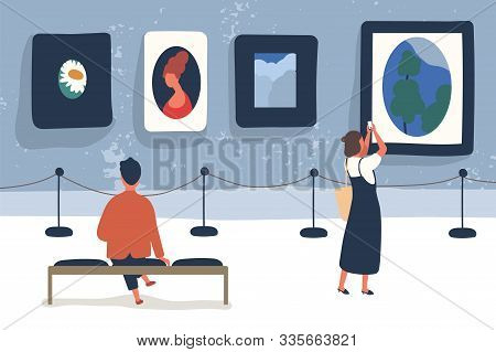 Art Museum Visitors Flat Vector Illustration. Modern Picture Exhibition, Painting Exposition. Art Lo