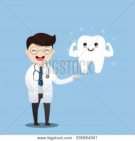 Happy Tooth Icon. Cute Tooth Characters. To Brush Your Teeth With Toothpaste. Dental Personage Vecto