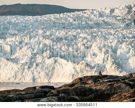 Huge Glacier Wall Of Ice. Eqip Sermia Glacier Eqi Glacier In Greenland Called The Calving Glacier Du