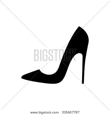 High Heel Shoe Graphic Icon. Stiletto Heels Black Sign Isolated On White Background. Female Shoes Sy