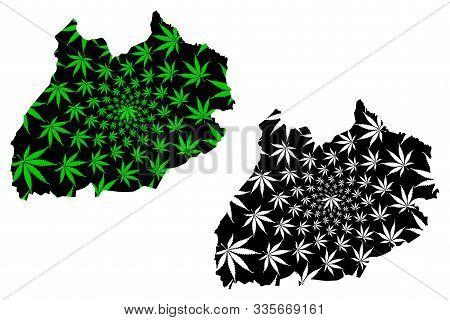 Marrakesh-safi Region (kingdom Of Morocco, Regions Of Morocco) Map Is Designed Cannabis Leaf Green A
