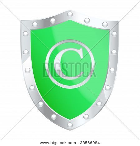 Copyright Protection Shield. Vector Illustration