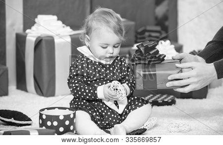 My First Christmas. Sharing Joy Of Baby First Christmas With Family. Baby First Christmas Once In Li
