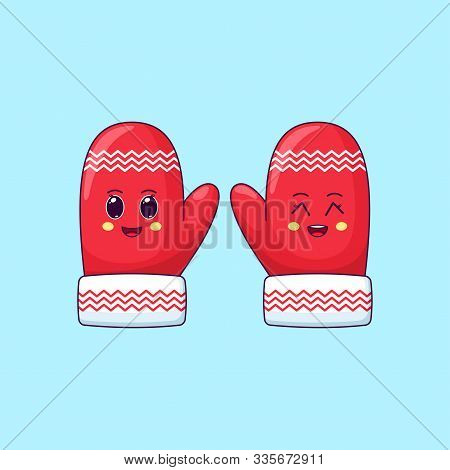 Cartoon Kawaii Mittens With Cheerful And Grinning Face. Cute Red Mittens With Pattern For Christmas