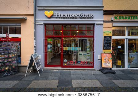 Bautzen, Germany - October 10, 2019: Office Of The Travel Agency Thomas Cook Group. The Largest Brit