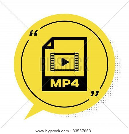 Black Mp4 File Document. Download Mp4 Button Icon Isolated On White Background. Mp4 File Symbol. Yel