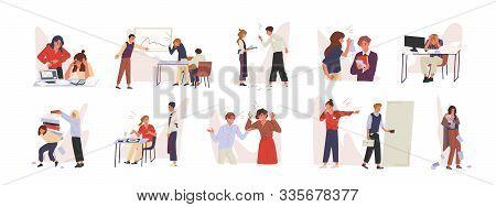 Rudeness In Business Team Vector Illustrations Set. Bad Job, Adverse Atmosphere, Disrespectful Attit