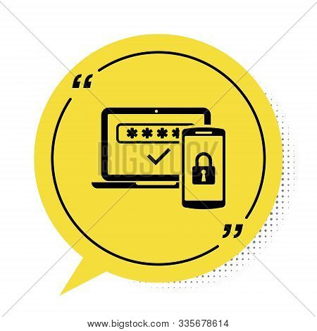 Black Multi Factor, Two Steps Authentication Icon Isolated On White Background. Yellow Speech Bubble