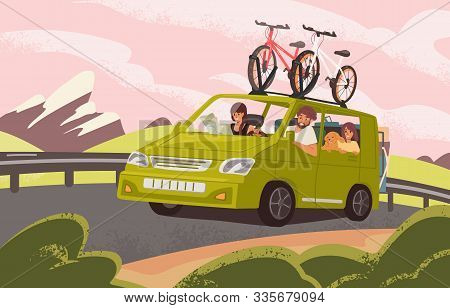 Family Road Trip On Camper Car Flat Vector Illustration. Family Couple With Kids And Dog Going On Va