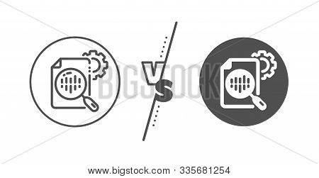 Settings Cogwheel Sign. Versus Concept. Seo Stats Line Icon. Traffic Management Symbol. Line Vs Clas