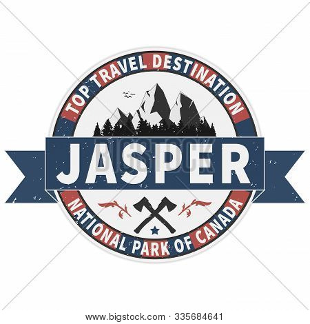 Top Travel Destination Jasper National Park Canadian Mountains Icon. Simple Illustration Of Canadian