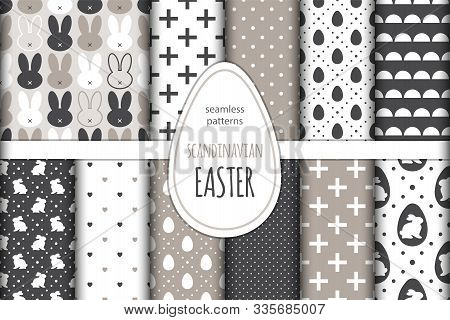 Cute Set Of Scandinavian Easter Bunny Seamless Patterns With Primitive Geometric Silhouettes Of Rabb
