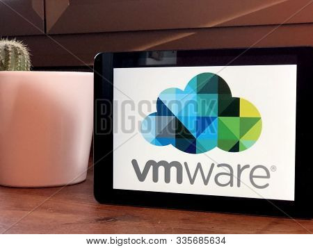 November 2019 Parma, Italy: Vmware Company Logo Icon On Tablet Screen Close-up. Vmware Visual Brand