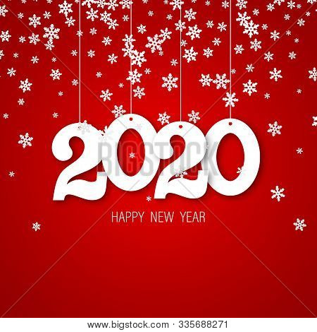 Happy New Year. Greeting Card With Inscription Happy New Year 2020. Fashion Style For Happy New Year