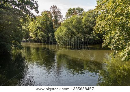 Late Summer Views Of Parkland With Ponds In Leipzig / Germany / Europe