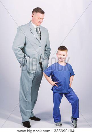 Child Care Development Upbringing. Respectable Profession. Man Respectable Businessman And Little Ki