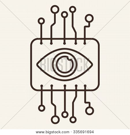 Cyber Eye Thin Line Icon. Brain, Brainwork, Circuit Board Isolated Outline Sign. Artificial Intellig