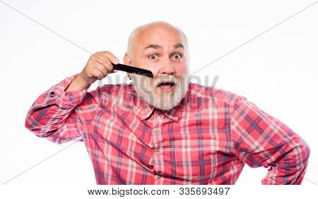 Hairstylist Bold Head. Man Bearded Barber Handsome Hairstylist Use Tool Styling Beard. Male Haircut.