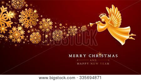 Merry Christmas And Happy New Year Greeting Card Template. Golden Angel With Wings, Nimbus And Trump